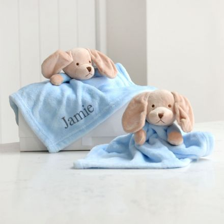 Personalised Two Puppy Comforters Gift Set